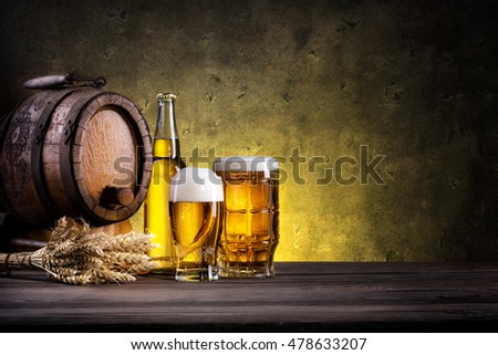 Still Life with beer on dark background
