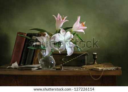 Still life with books - stock photo