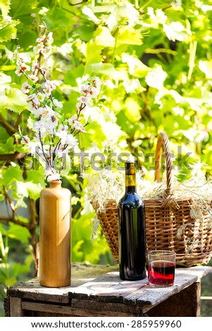 Still life with bottle and glass red wine on background of green foliage - stock photo