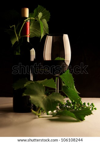 Still life with bottle of wine and a glass in contrasting light - stock photo