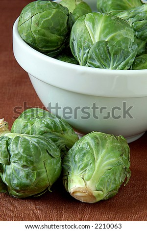 still life with bowl and brussel sprouts