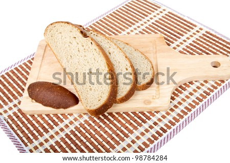 Still-life with bread slices isolated on a white background