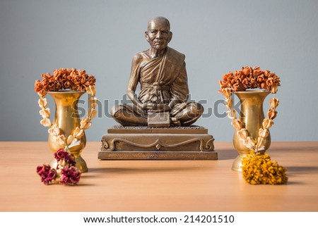 Still life with Buddha statue,Thailand life and culture, religious concept.
