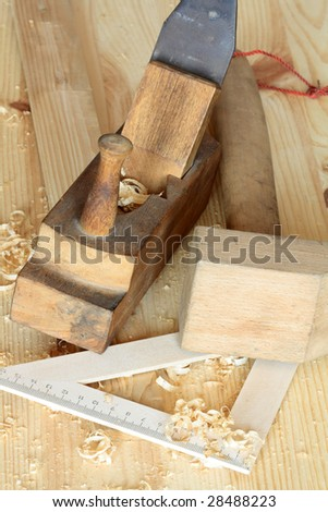 Carpenter Works On Woodworking Machine Tool Stock Photo