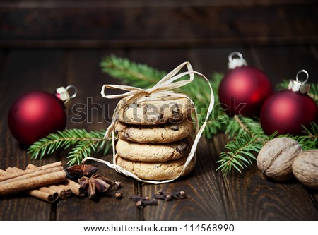 still life with christmas cookies - stock photo