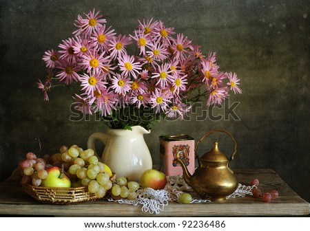 Still life with chrysanthemums - stock photo