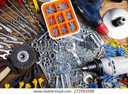 Still life with constructor tools - stock photo