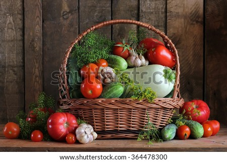 Still life with cucumbers, tomatoes, a vegetable marrow, garlic and fennel. Vegetables in a basket. Salting of cucumbers and tomatoes. - stock photo
