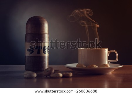 Still life with cup of tea. - stock photo