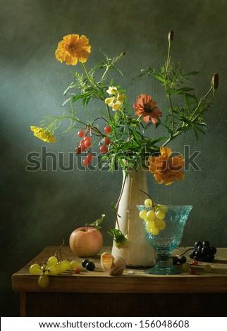 Still life with dahlias - stock photo