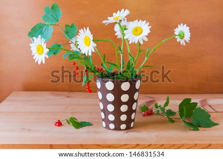 Still life with daisy flowers and red currant on wooden table. - stock photo
