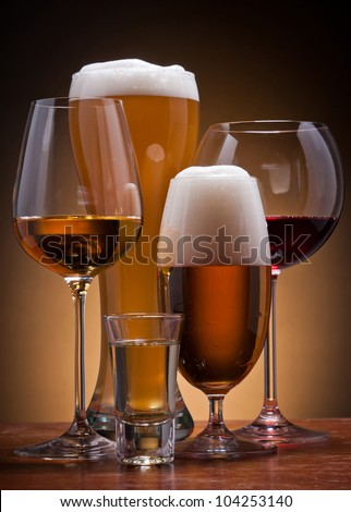 still life with different alcoholic drinks - stock photo