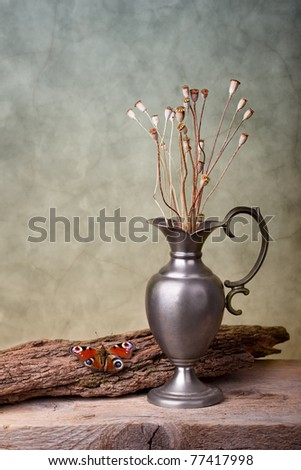 Still Life with European Peacock butterfly and dry poppy pods
