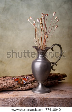 Still Life with European Peacock butterfly and dry poppy pods - stock photo