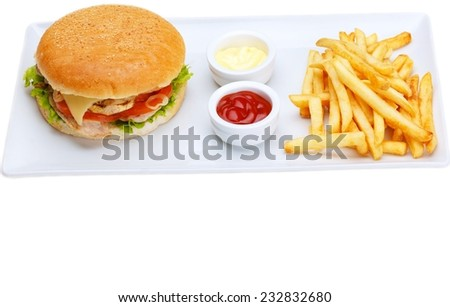 still life with fast food hamburger menu, french fries, soft drink and ketchup - stock photo