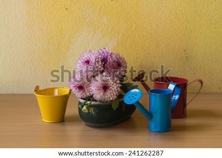 Still life with flower and watering pot over grunge background