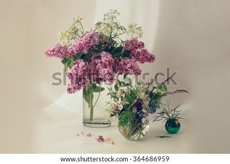 Still Life Flowers Three Vases Stock Photo Royalty Free 364686959