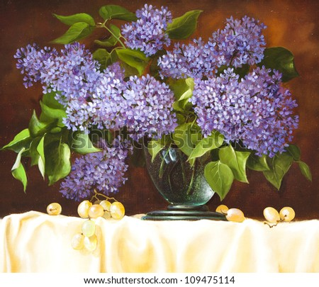 Still Life with Flowers lilac, oil on canvas - stock photo