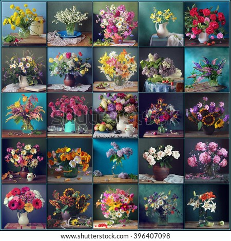 Still life with flowers on a blue and green background, collage. Still life with flowers. - stock photo
