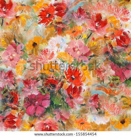 Still Life with Flowers, wallpaper, background, oil painting - stock photo