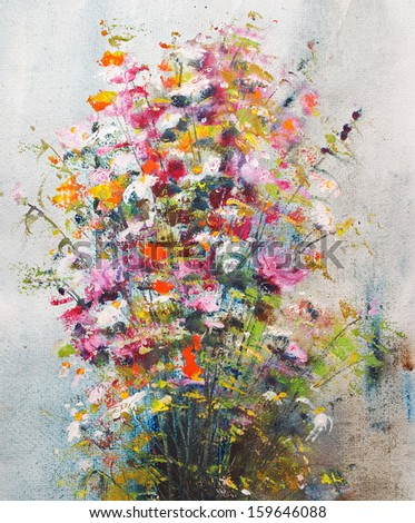 Still life with flowers, watercolor and gouache - stock photo