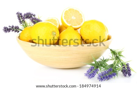 Still life with fresh lemons and lavender, isolated on white - stock photo