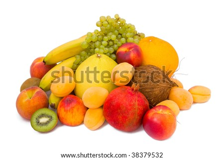 Still life with fruits isolated on white