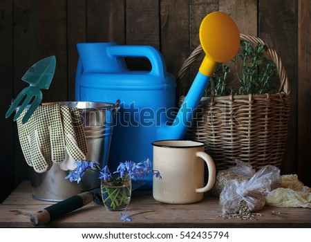 Still life with garden tools and spring flowers. The beginning of the summer season.
