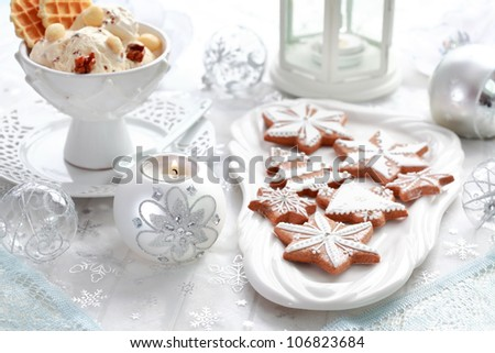 Still life with gingerbread and walnut ice cream for Christmas - stock photo