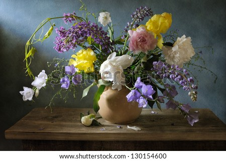 Still life with gorgeous summer flowers - stock photo