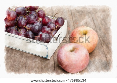 Still life with grapes and apple on wooden table,  illustration, watercolor paint