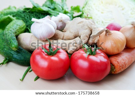 Still life with healthy fresh vegetables. - stock photo