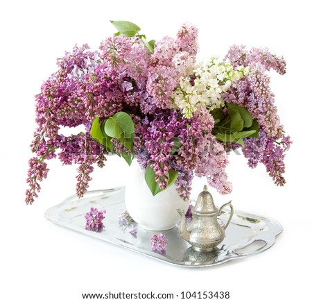 Still life with huge bunch of lilac flowers,silver salver and teapot isolated on white background - stock photo