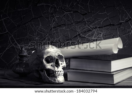 Still life with human skull  on leather case and candle on ancient brass candlestick