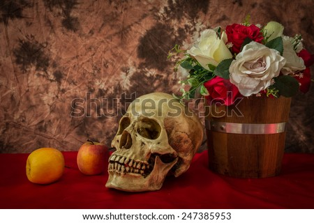 Still life with human skull the abstract image