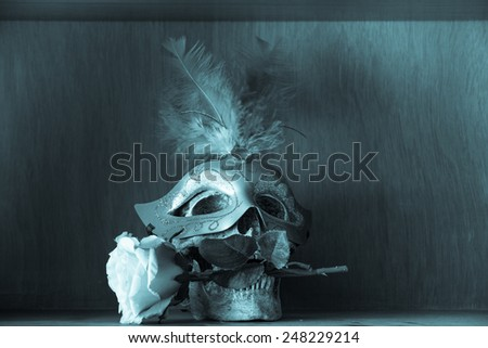 Still life with human skull with Wear the Mask. rose