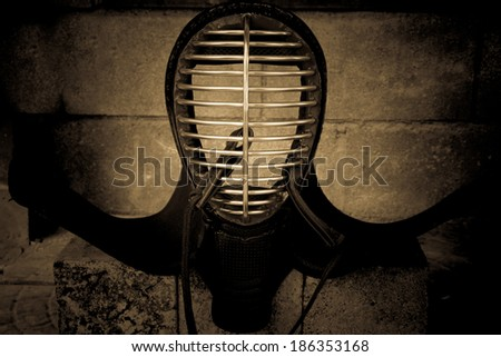 Still life with kendo head protector - kendo armor,black and white version - stock photo