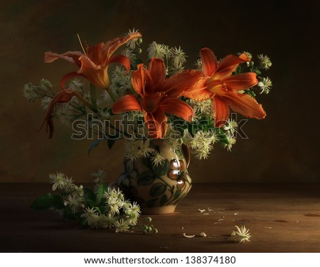 Still life with lilies - stock photo
