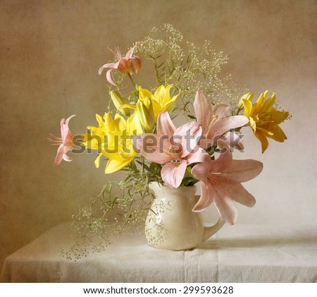 Still life with lilies (textured for artistic effect)  - stock photo