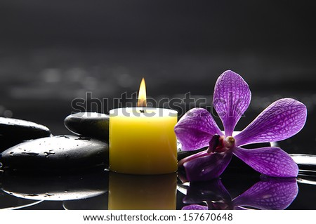 still life with macro of orchid and candle on black stones  - stock photo