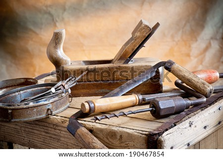 still life with nails rasp and old tools - stock photo