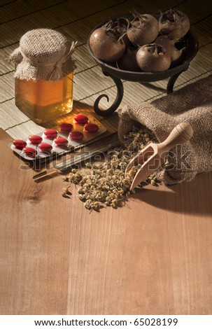 still life with natural medicines - stock photo
