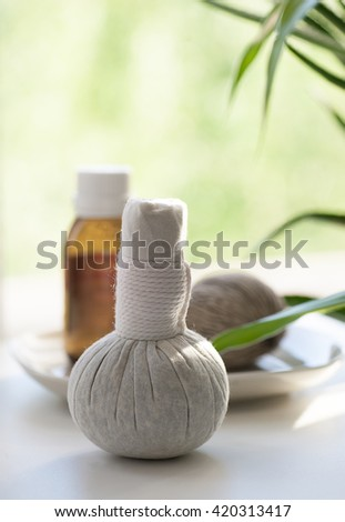 still life with nature spa items
