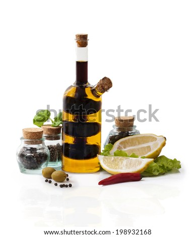 Still-Life With Oil and Balm on the white Background - stock photo