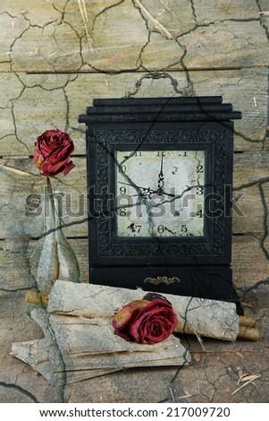 Still life with old retro clock - stock photo