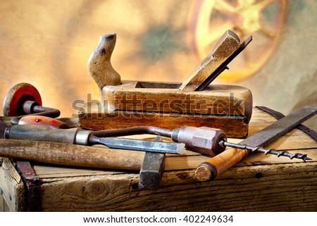 still life with old used carpentry tools - stock photo