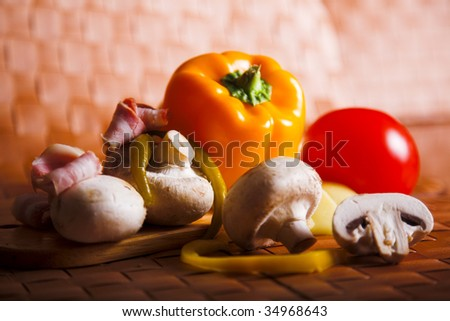 still life with paprika and mushrooms