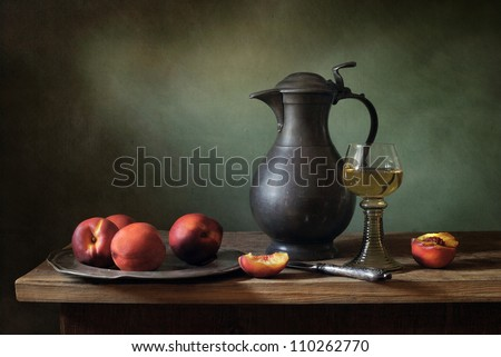 Still life with peaches - stock photo