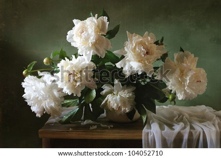 Still life with peonies - stock photo