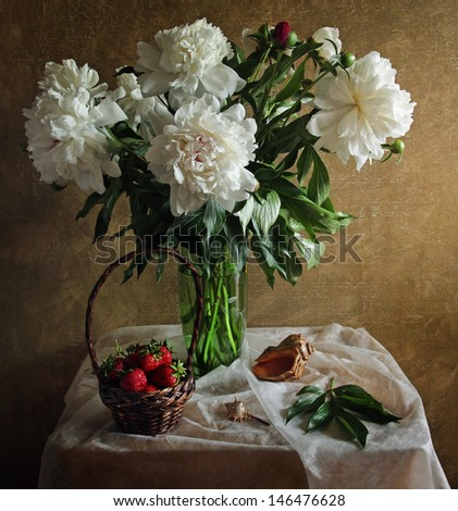 Still life with peonies strawberries and sea shell - stock photo